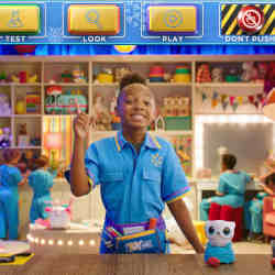 A child actor encourages visitors to make a choice in the virtual store KidHQ.