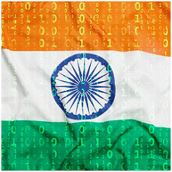 Indian flag and binary code
