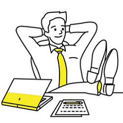 worker at desk, illustration