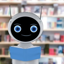 robot in library