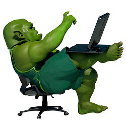 orge at laptop computer, illustration