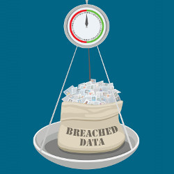 scale weighing sack of breached data, illustration