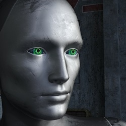 humanoid robot with green eyes