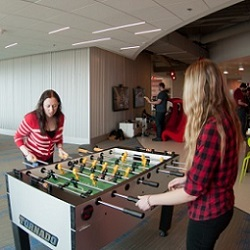 AWeber employees in its Chalfont HQ's game room