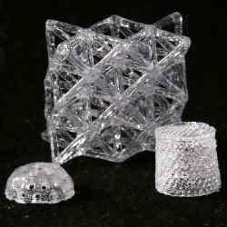 Glass objects created with a three-dimensional printer.