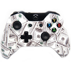 Xbox One controller comprised of hundred-dollar bills