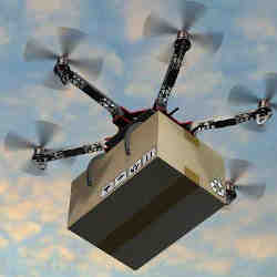 A drone delivers a package.