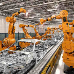 Industrial robots on an automotive assembly line.