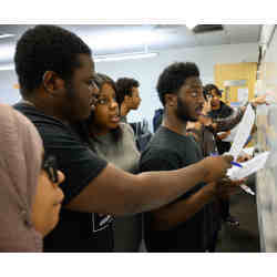 Students in a recent Tech-in-Residence class at Medgar Evers College of the City University of New York.