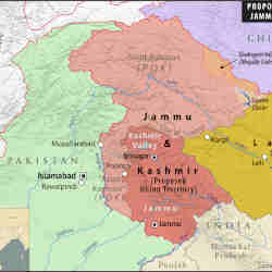 A map depicting the borders of Kashmir, territory claimed by both India and Pakistan.