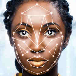 "A facial recognition system ""reading"" a young woman's face."