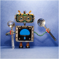 toy robot holding cutlery