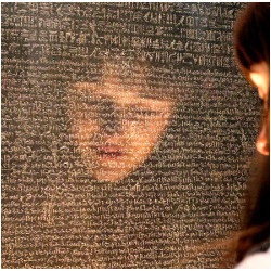 girl's reflection in stone tablet with ancient language etchings, illustration