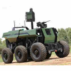 The Robattle, seven tons of semi-autonomous machine with sensors and a gun.