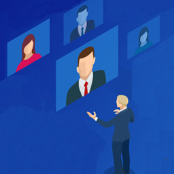 videoconference, virtual meeting, illustration