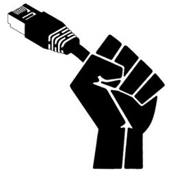 fist holding Internet cable, illustration