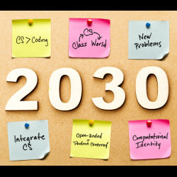 2030 bulletin board with post-it notes