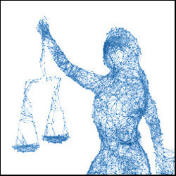 female figure holding scales of justice in pixelated image, illustration