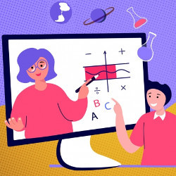 student views teacher on online learning platform, illustration