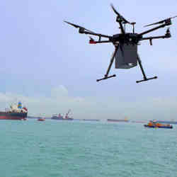 A drone delivery by F-drones to a ship off Singapore.