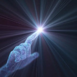 light emanating from fingertip, illustration