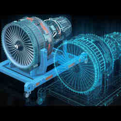 An aircraft engine and its digital twin.