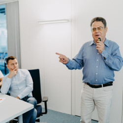Professor Bertrand Meyer leading a class