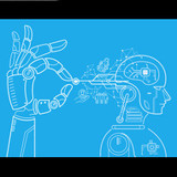 robotic hand and head, illustration