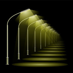 row of street lamps