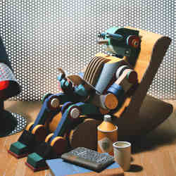 Artist's conception of a robot reading.