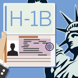 H-1B visa and Statue of Liberty, illustration