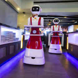 Robot waiters at the Royal Palace restaurant in Renesse, Netherlands.