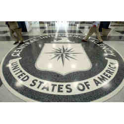 The Central Intelligence Agency symbol on the floor of the agency's headquarters in Langley, VA.