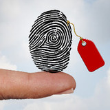 fingerprint with a red tag, illustration
