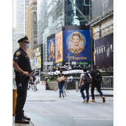A police officer on duty in New York City's Times Square.