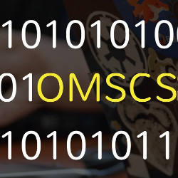 OMSCS initials and binary code, illustration