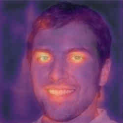 "A heat map of a photograph of  ""Oliver Taylor"" produced by Tel Aviv-based deepfake detection company Cyabra highlights areas of suspected computer manipulation."