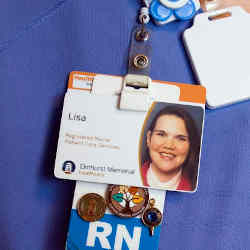 Tracking technology is embedded in this nurse's ID tag.