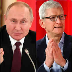Russian President Vladimir Putin (left) and Apple CEO Tim Cook.