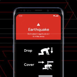 earthquake alert displayed on Android phone