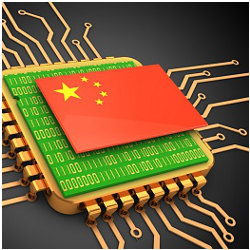China flag atop computer chip, illustration