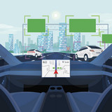 view from inside a self-driving vehicle, illustration