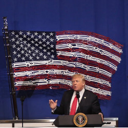 President Trump in front of American flag