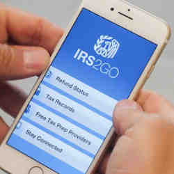 The IRS app on a mobile phone.