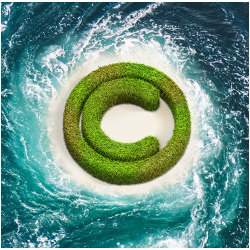 copyright symbol in swirling waters, illustration