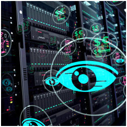 eyes in datacenter, illustration