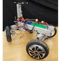 The AGRO robot features four steerable wheels with in-hub motors.