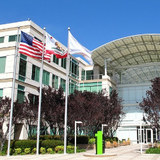 flags flying at Apple headquarters