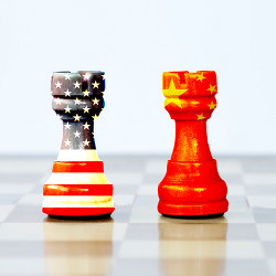 U.S. and China chess pieces