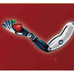 The robot fingers grasp an apple.
